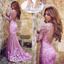 Wholesale Black Pink Prom Shoes - Arabic Muslims Lace Evening Celebrity Dresses And 3 Colors Shoes Pink Sexy See Through Mermaid Prom Dress Backless Long Sleeves Party Gowns