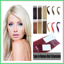 Wholesale Fine Human Hair - Double Drawn Indian Remy Tape Hair Weave,Soft Fine Skin PU Weft Tape-in Human Hair Extension,4CM-wide 16-28'' Silky Straight PU Tape-on Hair