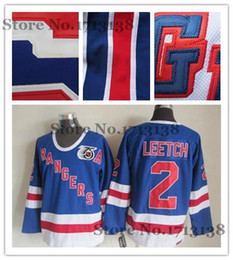 Wholesale Royal Blue Shirts Cotton - Factory Outlet, Men's New York Rangers Brian Leetch Jersey Royal Blue 75th Anniversary Cheap Throwback Vintage Hockey Jersey Shirts NY Range