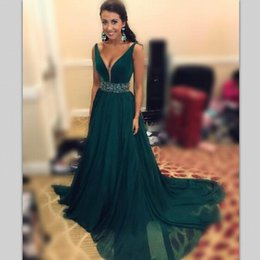 Wholesale Long Sexy Sequin Prom Dresses - Hunter Green Prom Dresses Long With Sash Beads Sequins Chiffon Formal Dresses Evening Wear A Line Desp V Neck cocktail dresses Cheap