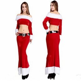 Wholesale Sexy Santa Suits - 2015 New Christmas costumes Women Sexy COSPALY jacket skirt Belt Suit Game Uniforms role-playing Halloween costume