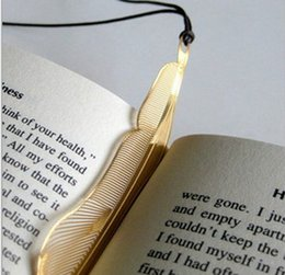 Wholesale Feather Metal - NEW Wedding Gold bookmark feather metal paragraph Creative Bookmarks SQ03