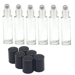 Wholesale Chrome Bottle - Empty Roll on Glass Bottles [STAINLESS STEEL ROLLER] Clear - 10ml Refillable Color Roll On for Fragrance Essential Oil - Metal Chrome Roller