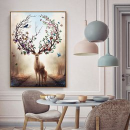 Wholesale Elk Painting - Nordic Elk Decorative Painting Living Room Home Wall Hanging Modern Paintings Home Decoration Natural Pine Inner Frame Canvas Wall Art
