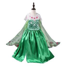 Wholesale Chiffon Floor Length Cape - fever elsa dress sleeveless flower dress for kids green flower girl dress fantasia dress green Elsa dress long cape costume in stock