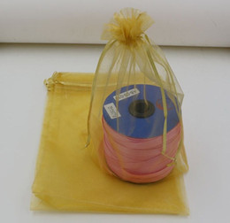 Wholesale Gold Drawstring Organza Bag - Hot Sales ! 100pcs Gold Color Organza Gift Bags , 7x9cm . 9x11cm. 13x18 cm .17x23cm . 20x30cm With Drawstring