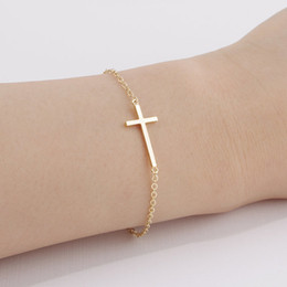 Wholesale Small Cross Charm Bracelet - 10PCS- B009 Gold Silver Horizontal Sideways Cross Bracelet Simple Tiny Small Religious Cross Bracelet Cool Faith Christian Cross Bracelets