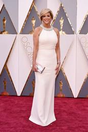 Prêmios vestido oscar on-line-88th academy awards 2016 alegria magano branco tapete vermelho de cristal vestidos de baile o Oscar celebridades dress 2016 mulheres vestidos de noite