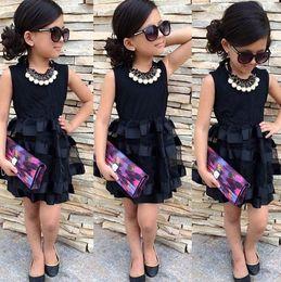 Wholesale Cn Lines - Girl black mesh dresses Girl Fashion Dress Childrenclothing set Girls party dresses Girls clothing Baby clothes Kids Clothes CN G014