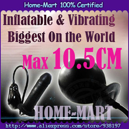 Wholesale Inflatable Vibrating Plug - Wholesale-2015 New Arrival Super Large Inflatable Biggest Anal plug (Max 10.5CM) ,Inflatable Dildo Pump, Vibrating Penis. Big Butt plug