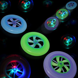 Wholesale Spin Toy Magic - Free shipping New Speical Colorful Fashion Hot Spin LED Light Magic Outdoor Toy Flying Saucer Disc Frisbee UFO Kid Toy TY378