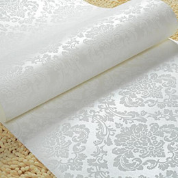 Wholesale Paper White Plant - Gold   Beige   white glitter damask metallic wallpaper wallcoverings 10m roll non-woven wall paper W046