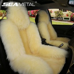 Wholesale Sheepskin Car Cushion - Car Seat Cover Long Wool Winter Universal Sheepskin Fur Front Seat Cushion Natural Covers Car-styling Auto Interior Accessories