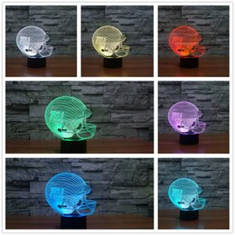 Wholesale Giants Rugby - HOTSALE 2017 3D Giant Team Logo LED USB Lamp NY New York Football Rugby Team Helmet Acrylic Tablet Night Light Sport Gift Soccer
