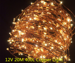 Wholesale Solar Ice Candle - Copper led lights 12V Outdoor Christmas string fairy lighting 20M 400 LED single string Warmwhite Free shipping 1 set lot