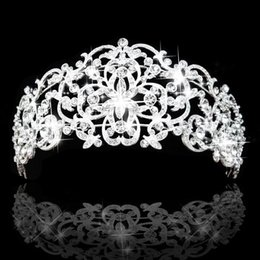 Wholesale Big Tiaras - Gorgeous Rhinestones Crystals Bridal Crowns Tiara Wedding Hair Accessories High Quanlity Royal Style Big Bride Tiara Crown In Stock