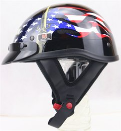 Wholesale Helmet Half Dot - wholesale Top Quality Cruiser Motorbike helmet For Harley half face Motorcycle helmet DOT approved can add sunglass visor shield