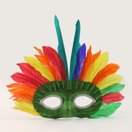 Wholesale Mask Plume - 20pcs lot Indian Tribes Colorful Plume Feather Party Masks Costume Eyeshade Masks Birthday Festival Cosplay Party Decoration