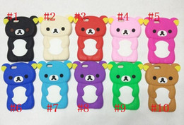 Wholesale Iphone Cases Rilakkuma - 50pcs Rilakkuma cartoon teddy Bear 3D style soft Silicone Gel Back cover case Relax Bear Cases for iphone 6 5 4 Samsung