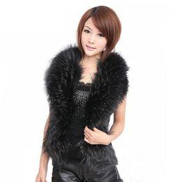 Wholesale women black fur vest - Large size imitation fur vest Women's clothing 2017 Europe style women vest imitation fox fur collar high quality pu leather jacket vest