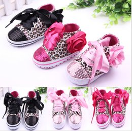 Wholesale Pink Leopard Print Shoes - 2015 Leopard princess shoes!Sequins baby shoes!flower toddler shoes,soft children shoes,spring girls single shoes.12pairs 24pcs.ZH