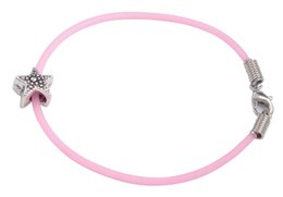 Wholesale Kids Beads Bracelet - 12PCS Cute Bead Charm PINK Rubber Cord Kid Bracelets #92185