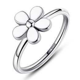 Wholesale Vintage Enamel Sterling - Daisy Silver Ring with White Enamel Vintage Flower Engagement Wedding Rings for Women R014