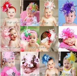 Wholesale Hair Band Feather Headbands - Children's Hair Accessories 2014 new Ostrich feathers exaggerated bow baby hair accessories hair bands ribbon Christmas,10pcs lot,dandys