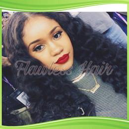 Wholesale Cheap U Part Lace Wigs - Cheap virgin 100% human peruvian hair wigs 130%density side u part wig long kinky curly with baby hair for black women #1b stock