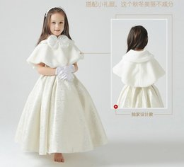Wholesale Shawl White Satin Flowers - 2016 New Winter in Stock Warm Flowers Girl Capes shawl faux fur wedding dress Bolero wrap cape shrug jacket Accessories Red White Red Blue