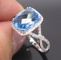Wholesale Natural Diamond Ring White Gold - Free Shipping Solid 14K White Gold Natural Blue Topaz Diamond Engagement Ring(R0093)