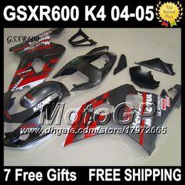 Wholesale Gsxr New Fairings - 7gifts+Cowl Silver grey Red For SUZUKI GSX-R600 K4 04 05 GSXR600 GSXR 600 Bodywork NEW G35J21 GSXR-600 2004 2005 Free Customized Fairing