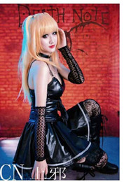 sexy anime girls games Promo Codes - Wholesale-Sexy Halloween costumes for girls anime death note Misa Amane cosplay costume Black dress cuff neckwear