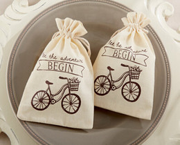 Wholesale Wholesale Western Fabrics - New Arrival Linen and joyful bags Western style wedding cotton and linen bags of candy bag Wedding Supplies Favor Holders