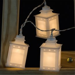 Wholesale House Shape Lanterns - Wholesale- Black White Warm Glow House Shaped Lantern Led string Light 1.65M 10led IP20 Non-Waterproof Indoor Lights Festival decoration