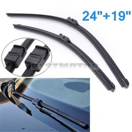 Wholesale Audi Windscreen - 24 19  Aero Flat Front Rubber Rain Window Windscreen Wiper Blades For Audi A3 for BMW 3 VW for Golf small order no tracking