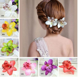 Wholesale Hot bridal hair accessories flower Orchid hair pins Bohemia Leopard Hair Clip Beauty Hairpins Barrette Wedding Decoration Beach Hairwear