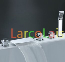 Wholesale Deck Mount Tub Faucets - Three Handle Widespread Waterfall Roman Tub Faucet with Hand Shower (Chrome Finish)