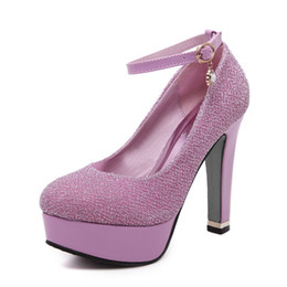 Wholesale Shining Diamond Shoes - new single shoe shining sequins shallow mouth purple rush diamond heels female thick with sexy club party shoes