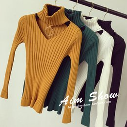 Wholesale Metal Tights - Wholesale- Turtleneck metal ring hasp cutout black tight pullover sweater female long-sleeve basic shirt top