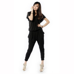 Короткие брюки из гарема онлайн-Wholesale-Free Shipping Modal Jumpsuits Rompers For Women Summer Harem Pants Black Loose Plus Size 6XL Black Short Sleeve Jumpsuit