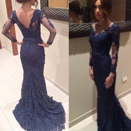 Wholesale Stock Custom Evening Dress - Navy Blue 2015 Lace Evening Dress With Sheer Long Sleeves V Neck Mermaid Prom Gowns Wedding Guest Gowns Party Dresses Cheap In Stock