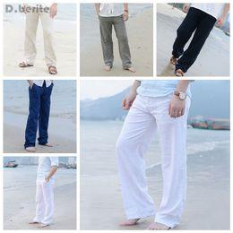 Wholesale mens bootcut - Wholesale- Mens Linen Loose Pants Beach Drawstring Casual Long Slacks Trousers Beach trousers DAJ9211