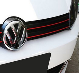 Wholesale Red Car Trim - MK6 GTI Gli Styling Red Line Reflective PVC Car Sticker Front Grille Trim Strip For Volkswagen VW Jetta Golf 6 VI Golf6 Polo