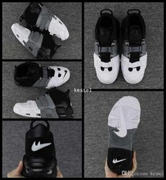 Wholesale Tri Color Mens Leather Shoes - 2017 Air More Uptempo Basketball Shoes For Men High Quality Tri-Color Black Grey White Oreo Mens Scottie Pippen Sneakers Size us 7-13