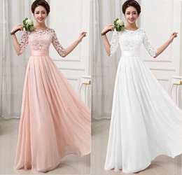 Wholesale Bridesmaid Maxi Dress Lace Sleeves - 2015 Elegant Women Lace Flower Hollow Out Chiffon Maxi Wedding Bridesmaid dresses Long Gown Dress maid of honor dresses lace half sleeve