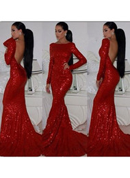 Wholesale High Neck Sparkle Formal Dress - Sparkly Prom dresses Backless Mermaid Sheath Fitted Red Sequin Sparkle Dress High Neck Formal Evening Long Sleeve Women Dresses