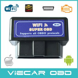 Wholesale Elm327 Wifi Wireless Obd2 Interface - Wholesale-2015 New Arrival Version V1.5 super mini wifi obd2 ELM327 wireless Auto Diagnostic Tool obd2 interface for IOS Android system