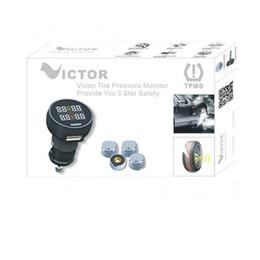 Wholesale Monitoring Pressure Gauge - Wholesale-TPMS USB socket in monitor LCD display Tyre Car Tire Pressure Monitoring System Monitor Pressure Gauge with 4 inside Sensors