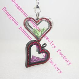 Corujas do origami on-line-Panpan aço inoxidável 316L vidro temperado coração afiado medalhão coruja origami flutuante medalhões com cristais vermelhos para os amantes
